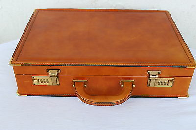 Vintage Echtes Leder Aktenkoffer Braun cognac Leather Briefcase Business Bag