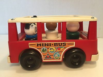 Fisher Price Mini Bus 141 w Little People blue red dog 1969 + People Vintage lot