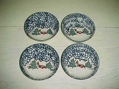 4 Tienshan Folk Craft Cereal Soup Bowls Cabin Snow Cottage Winter Christmas Dish