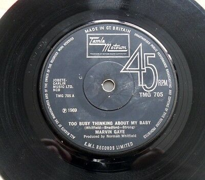 MARVIN GAYE:  TOO BUSY - -  45rpm TMG 705 1969