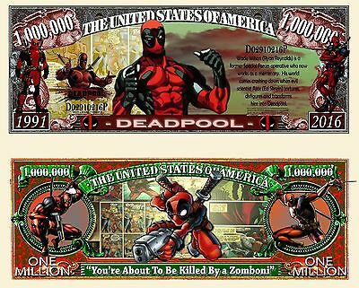 DeadPool Million Dollar Bill Collectible Fake Play Funny Money Novelty Note