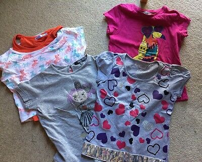 Bundle Of Four Girls T-shirts (M&S, M&Co) Age 5-6