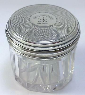 William IV hallmarked Silver-lidded Glass Rouge Pot/Jar with Crest – 1836  (1)