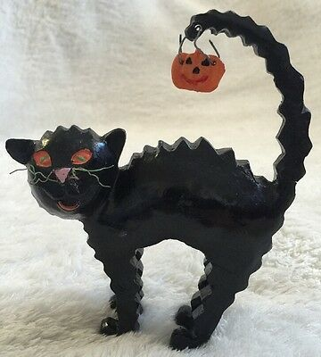 """Halloween Black Cat With Jack-o-lantern on Tail - Wood? Resin? Heavy 5-1/2"""""""