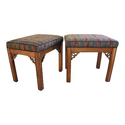 Elegant 1950s Hollywood Chippendale-Style Upholstered Benches - a Pair
