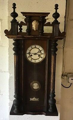 Mahogany Vienna Antique Wall Clock Continental Movement And Dial Beautiful