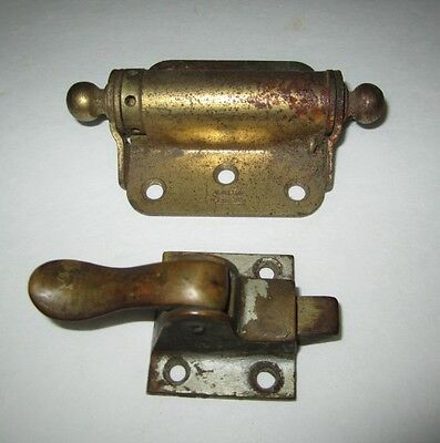 Antique Victorian Spring Loaded Cast Iron Screen Door Hinge Hardware & Latch