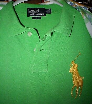 Ralph Lauren Herren Golf Polo Hemd in grün gelbes Big Pony Gr.L Kurzarm