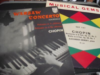 """2 X Classical 7"""" Vinyl - Chopin - Warsaw Concerto and Nocturne"""