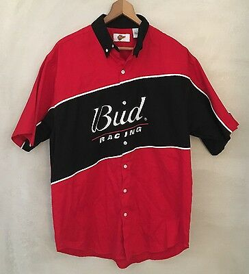 Bud Racing Budweiser Dale Jr Pit Crew Shirt Men's L Earnhardt Red & Black NASCAR