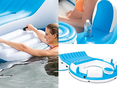 Inflatable Tropical Island Raft Floating 7 Person Pool Lake Party Lounge Aboard
