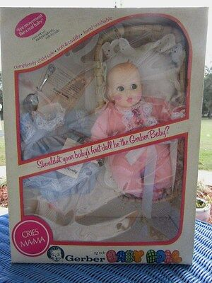 Gerber Baby Doll Vintage  Accessories Cries Ma Ma Moving Eyes NEW 12""