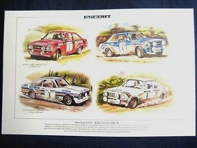 A Montage Print Of Rally Mk 2 Escorts