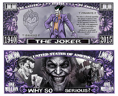 Joker of Batman Comic Million Dollar Bill Collectible Funny Money Novelty Note
