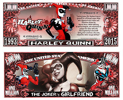 Harley Quinn Million Dollar Bill Collectible Fake Play Funny Money Novelty Note