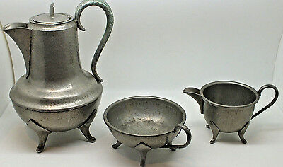 Roundhead Leadfree Pewter 3  Piece Tea Set Vintage English Pewter tea/coffee pot