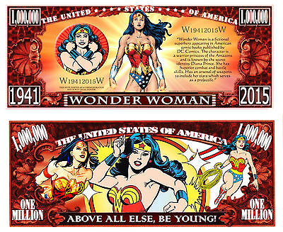 Wonder Woman Million Dollar Bill Collectible Fake Play Funny Money Novelty Note
