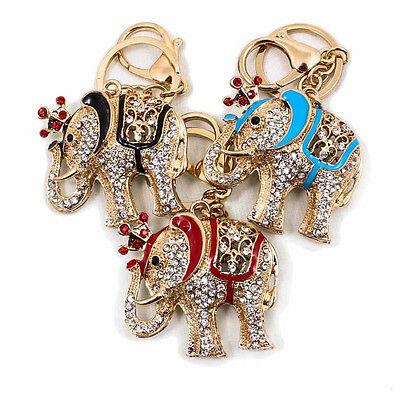Elephant Fashion Rhinestone Metal Key Chain Ring Keyfob Bag Pendant Clip