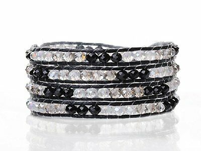 FAB Wrap Bracelet Made from Black, Clear and white Crystal Beads