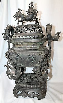 Antique Chinese BRONZE CENSER SET IN BAMBOO FORM