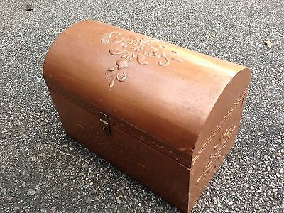 Wooden Gold Old Vintage Style Treasure Chest Box Bronze