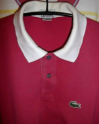 Lacoste US Made Herren Golf Polo Hemd in fuchsia weißer Kragen Gr.M