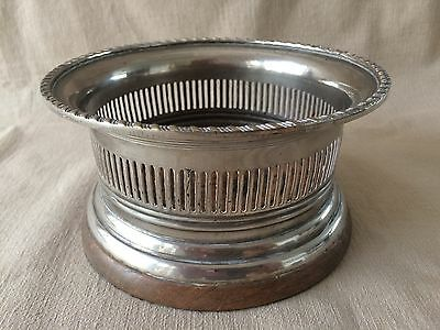 Vintage Silver Plate Gallery WINE BOTTLE COASTER - Mahogany base - 155 mm dia