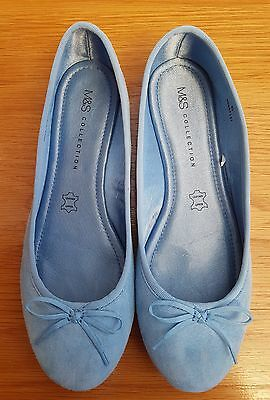 M&S Collection-Light Blue Leather/Suede Flat Summer Ballerina Shoes UK6
