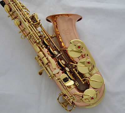 Professional TaiShan Rose Brass Alto Sax Eb Saxophone High F# Saxofon With case