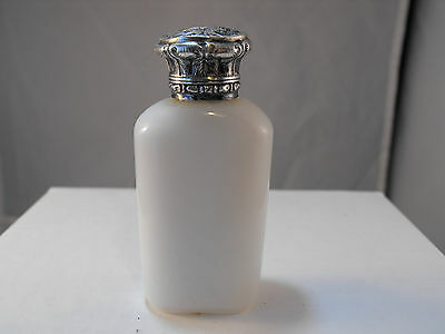 white glass Victorian scent bottle with solid silver top and stopper