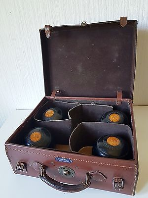 Vintage Set Of 4 Thomas Taylor Lawn Bowls In Fitted Leather Presentation Case
