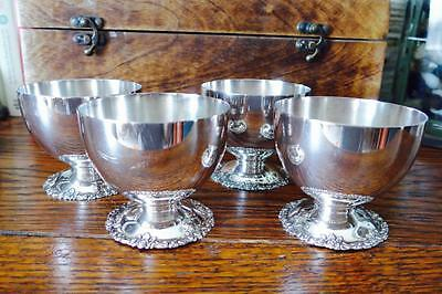 *four Beautiful Antique Alpaka Silver Punch Cups*
