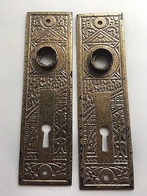 2 Antique Vintage Cast Iron Victorian Door Plates