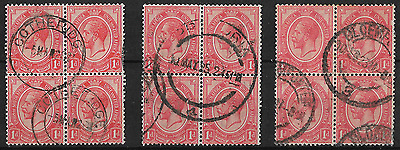South Africa 1913 KGV SG4 1d Rose-Red Group of 3 Blocks of 4 Used #4