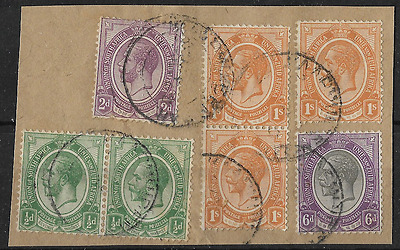South Africa 1913 KGV Postmarks on Piece Used