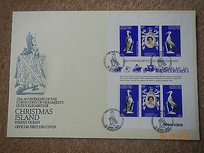 First Day Cover (FDC) Christmas Island 25th Anniversary Coronation QE11