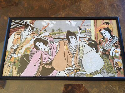 Vintage Japanese Embroidered Needle Craft Wall Hanging Framed