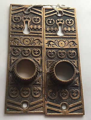 2 Antique Vintage Brass Victorian Door Plates