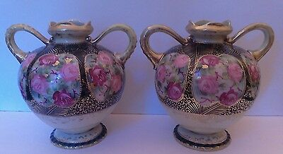 Pair of Antique, Ornate Nippon Hand Painted Footed Moriage Urns, Vase Two Handle