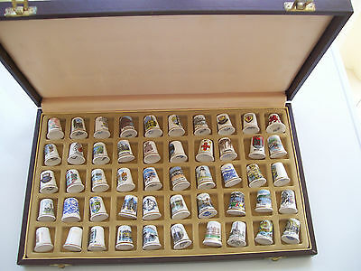 Lovely Rare (T.C. Club) Case and 50 China Thimbles (Towns/ Places UK)