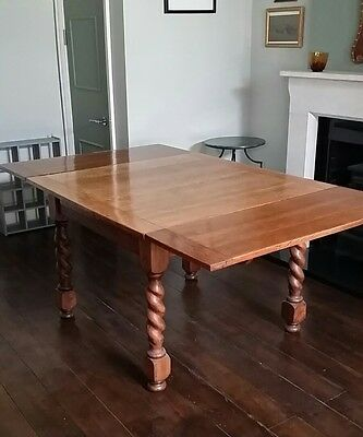 Antique Vintage Large  Solid Oak Barley Twist Extending Dining Table
