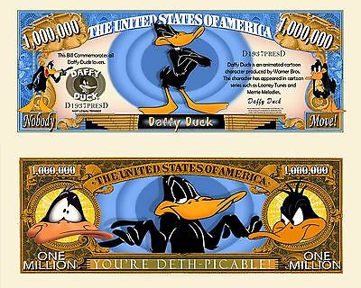 Daffy Duck Million Dollar Bill Collectible Fake Play Funny Money Novelty Note