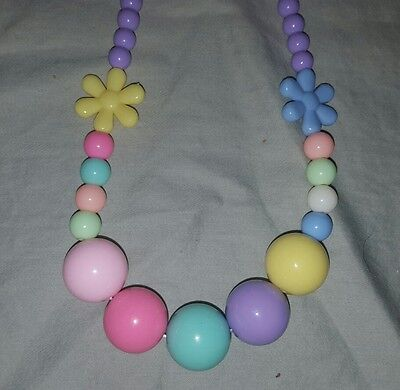 new elastic kids purple rainbow flower  necklace and bracelet set