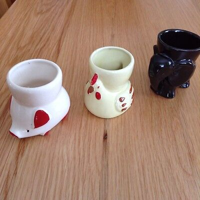 Collection of Three Vintage Novelty Animal China Egg Cups - Pig Chicken Elephant