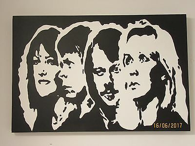 Abba- Abstract Art Canvas - Monochrome - Very Rare By A . Symes - Circa 2005