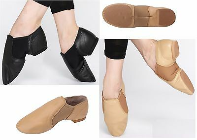 New Women's Jazz slip on dance sneakers Black tan Dance Shoes US Size 3.5 - 11.5