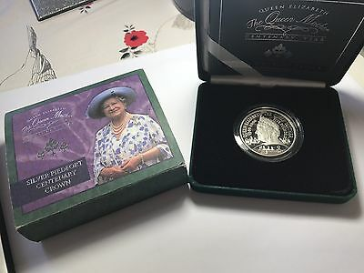 £5 Five Pound Royal Mint Queen Mother Silver Proof Piedfort Crown 2000 Coa