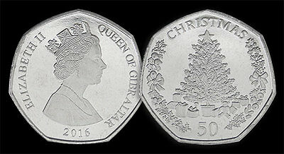 Gibraltar 2016 50p coin Christmas issue - latest - post free