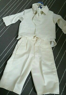 Boys christening/wedding naming party suit baby outfit, 6-9 months shirt tie