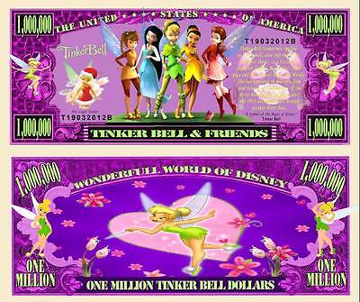 TinkerBell & Friends Million Dollar Bill Collectible Funny Money Novelty Note